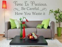"""Wall Quote """"Time is Precious. Be Careful..."""" Home Sticker Decal Decor Transfer"""